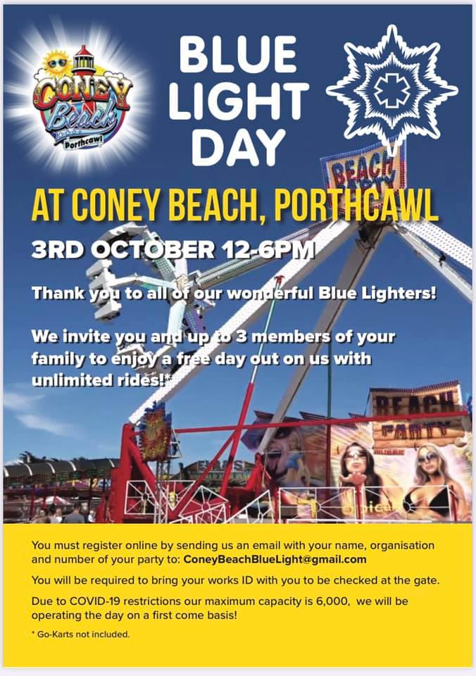 BLUE LIGHT DAY AT CONEY BEACH flyer